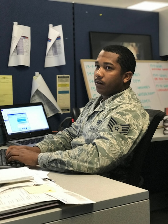 Airman working on computer