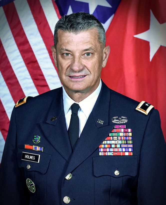 U.S. Army Maj. Gen. Jeffrey Holmes, the adjutant general of the Tennessee National Guard, poses for his official photo in January 2019 at Joint Force Headquarters, Nashville, Tennessee.