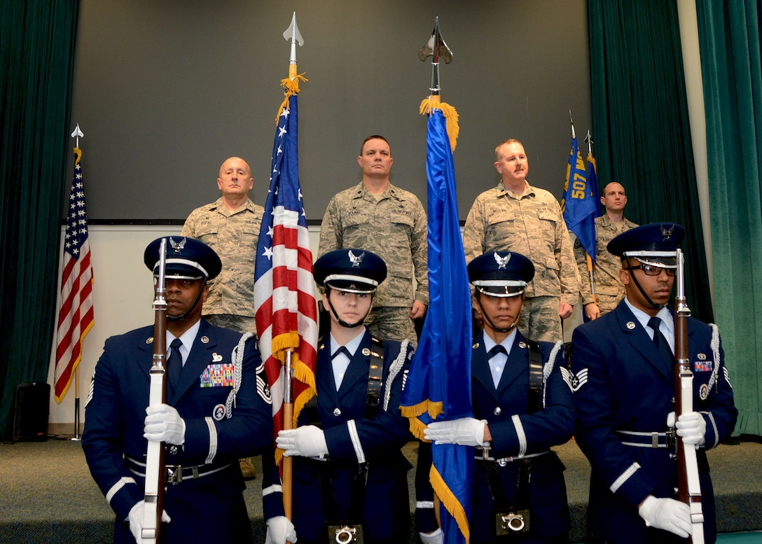 Reserve Citizen Airmen 507th Air Refueling Wing Honor Guard post the colors during the 72nd Aerial Port Squadron change of command ceremony at Tinker Air Force Base, Oklahoma. (U.S. Air Force photo by Tech. Sgt. Samantha Mathison)