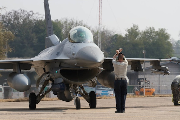 A U.S. Air Force F-16 Fighting Falcon, assigned to the 35th Fighter Squadron, Kunsan Air Base, Republic of Korea, arrives  in preparation for Exercise Cobra Gold 2019 at Korat Royal Thai Air Force Base, Thailand, Feb. 6, 2019.