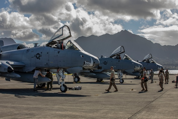 U.S. Airmen assigned to the 442nd Fighter Wing from Whiteman Air Force Base, Missouri, secure and prepare A-10 Thunderbolt II aircraft after arriving aboard Marine Corps Air Station Kaneohe Bay, Marine Corps Base Hawaii, Feb. 11, 2019.