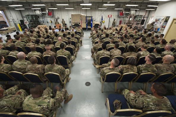"379th Expeditionary Logistics Readiness Squadron Airmen attend a ""Daedalian"" award ceremony, Feb. 11, 2019 at Al Udeid Air Base, Qatar."