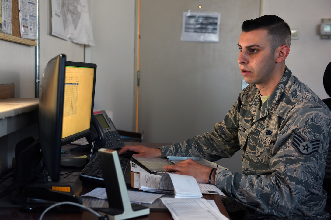 U.S. Air Force Staff Sgt. Evan Torgeson, 39th Logistics Readiness Squadron fuels center supervisor, documents and inventories fuels information at Incirlik Air Base, Turkey, Feb. 2, 2019.