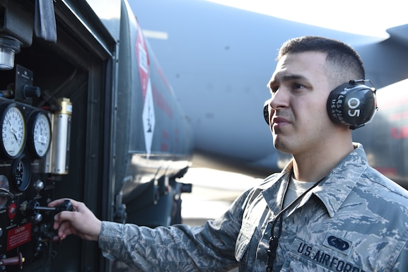U.S. Air Force Airman 1st Class Gabriel Praslin-Trewin, 39th Logistics Readiness Squadron fuels specialist, waits to fill up an aircraft at Incirlik Air Base, Turkey, Feb. 1, 2019.