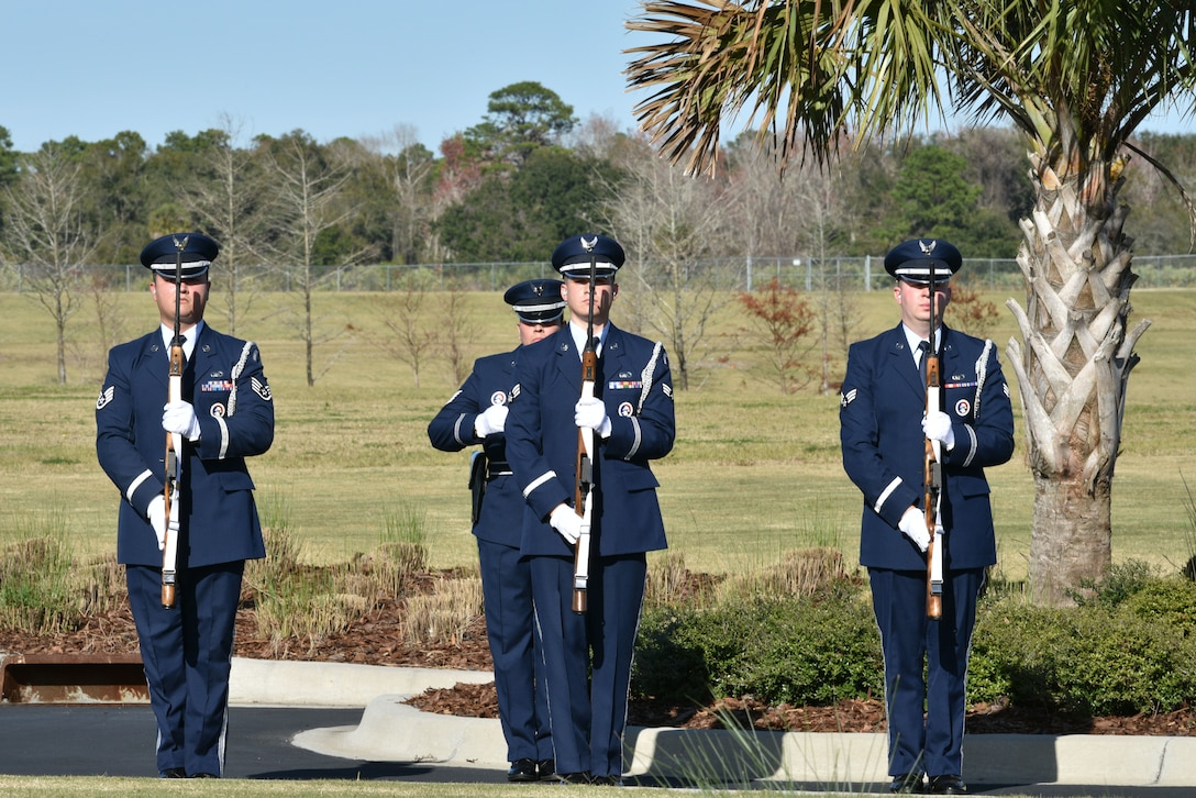 Patrick Air Force Base Honor Guard perform a three volley salute for Edwin T. Cowan, Tuskegee Airman, during his funeral, Feb. 7, 2019 at Cape Canaveral National Cemetery in Mims, Fla. Cowan was buried with full military honors, alongside his wife Theda. (U.S. Air Force photo by Airman 1st Class Dalton Williams)