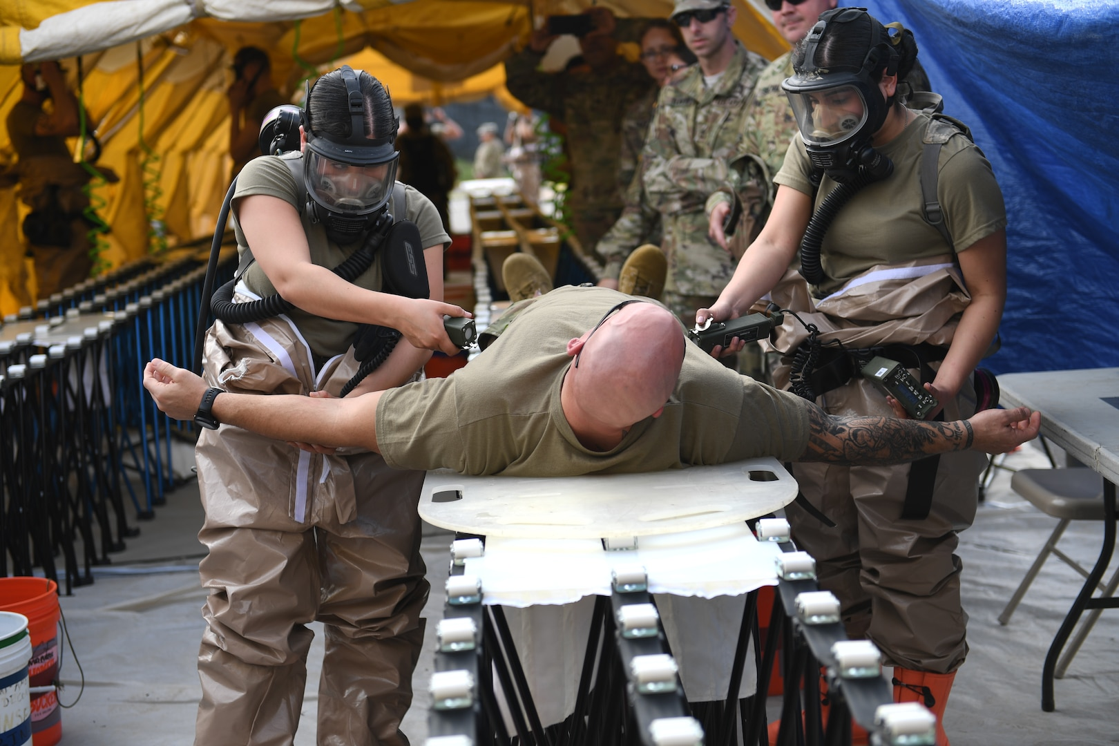 The Texas National Guard's 6th CERFP Task Force, which includes the 149th Medical Det-1 and Fatality Search and Recovery Team, participated in response training with local civil authorities Feb. 5, 2019, in Round Rock, Texas.