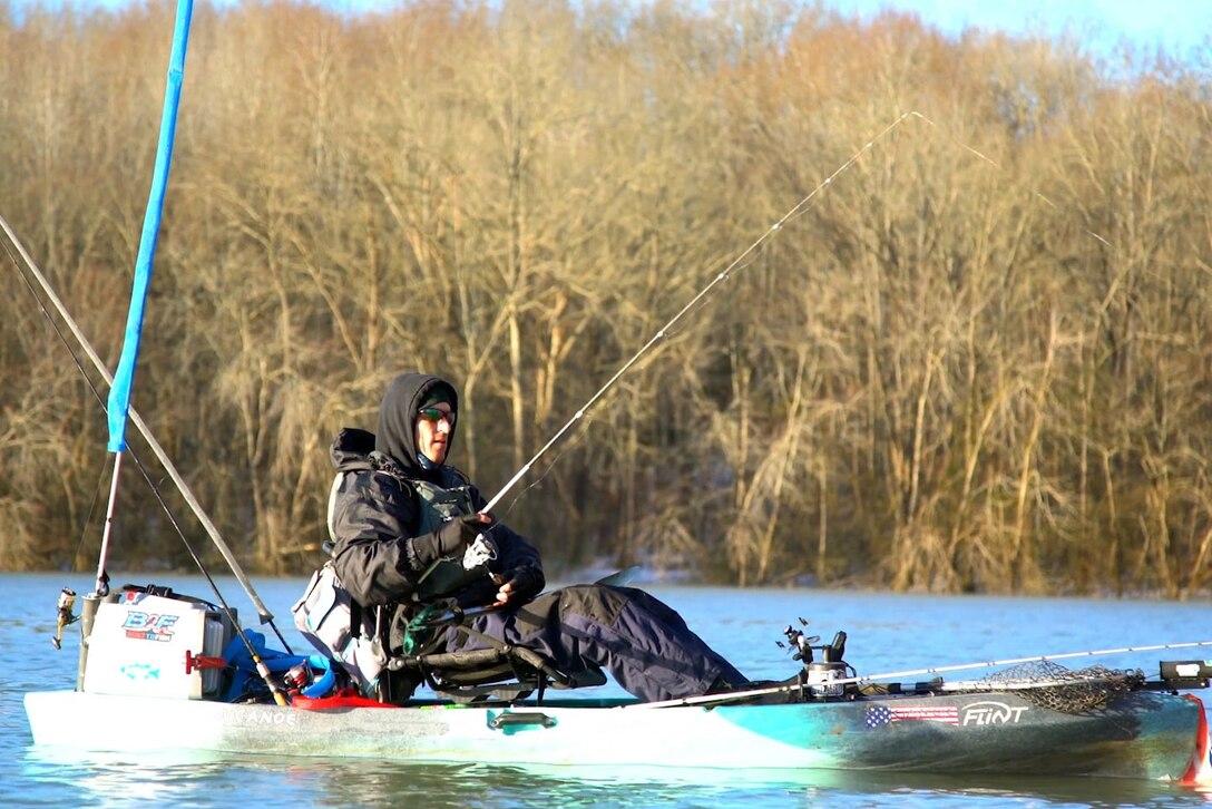 Fisherman on a lake