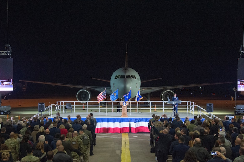 The 97th Air Mobility Wing's first KC-46A Pegasus is unveiled during the KC-46A Pegasus arrival celebration, Feb. 8, 2019, at Altus Air Force Base, Okla.