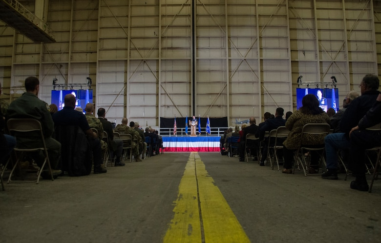 Members across the nation and the Altus community listen as Air Force Chief of Staff Gen. David L. Goldfein welcomes the Air Forces newest aircraft, the KC-46A Pegasus, Feb. 8, 2019, at Altus Air Force Base, Okla.