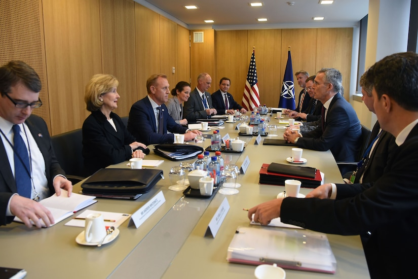 Acting Defense Secretary Patrick M. Shanahan meets with NATO Secretary General Jens Stoltenberg.