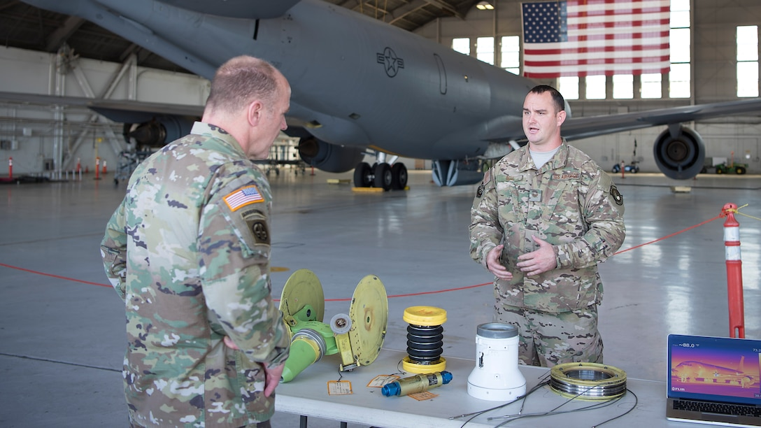 U.S. Army Gen. Stephen Lyons, U.S. Transportation Command commander, is briefed on KC-135 Stratotanker part sustainment innovations by Staff Sgt. Ethan Bell, a 6th Maintenance Squadron aircraft hydraulic system craftsman, at MacDill Air Force Base, Fla., Feb 8, 2019. During the visit, Lyons engaged with Airmen regarding mission readiness, innovation initiatives and other KC-135 operations. USTRANSCOM is a unified, functional combatant command that provides support to the nine other U.S. combatant commands, the military services, defense agencies and other government organizations.