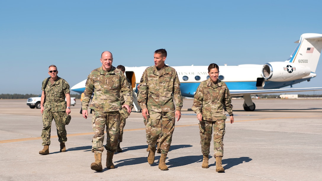 U.S. Army Gen. Stephen Lyons, U.S. Transportation Command commander, walks off the flightline at MacDill Air Force Base, Fla., after being greeted by 6th Air Mobility Wing leadership Feb. 8, 2019. As the USTRANSCOM commander, Lyons visited MacDill to learn more about how the KC-135 Stratotanker helps project and sustain forces whenever and wherever needed. USTRANSCOM is a unified, functional combatant command that provides support to the nine other U.S. combatant commands, the military services, defense agencies and other government organizations.