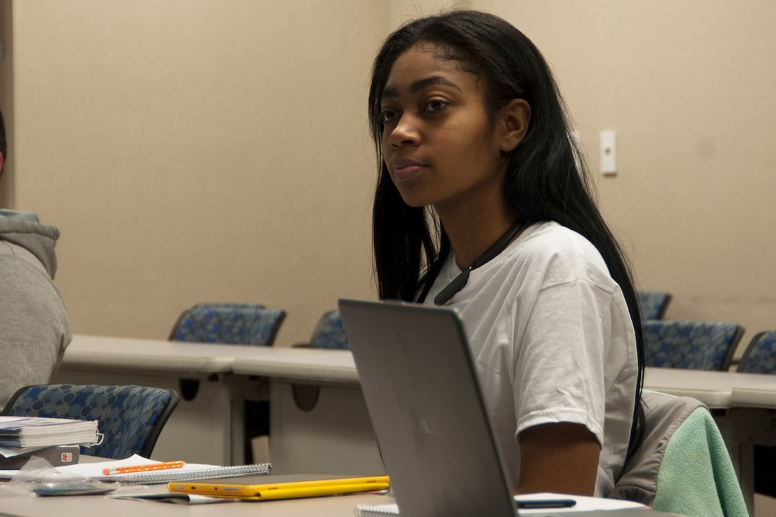 Jasmine Lee, an airman with the 127th Force Support Squadron, participates in an evening English course on base on February 5, 2019.