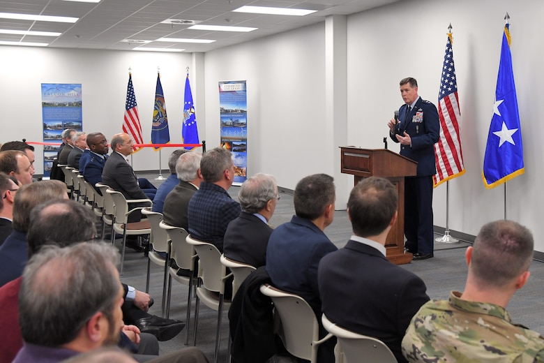 Lt. Gen. Gene Kirkland, Air Force Sustainment Center commander, discusses the importance of training and innovation with Airmen during a readiness exercise Feb. 7, 2019, at Hill Air Force Base, Utah.