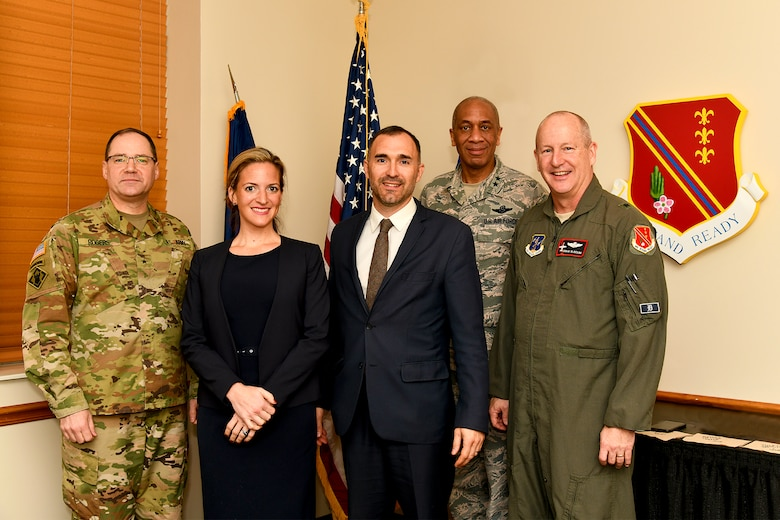 During an orientation visit, Brig. Gen. Paul Rogers, the adjutant general, Michigan National Guard, Jocelyn Benson, Michigan secretary of state, her husband Ryan Friedrichs, Maj. Gen. Leonard Isabelle, assistant adjutant general and Brig. Gen. John D. Slocum, 127th Wing and Base commander had the opportunity to sit down for lunch and tour the base.