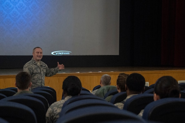 U.S. Air Force Lt. Col. Matt Basler, Profession of Arms Center of Excellence (PACE) senior professionalism, consultant talks about being a leader during the Enhancing Human Capitol seminar