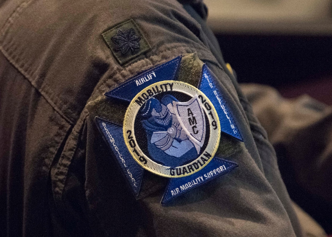 A U.S. Air Force Airmen's uniform displays the ceremonial patch of the exercise during a Mobility Guardian international planning conference held at Fairchild Air Force Base, Washington, Feb. 5, 2019.