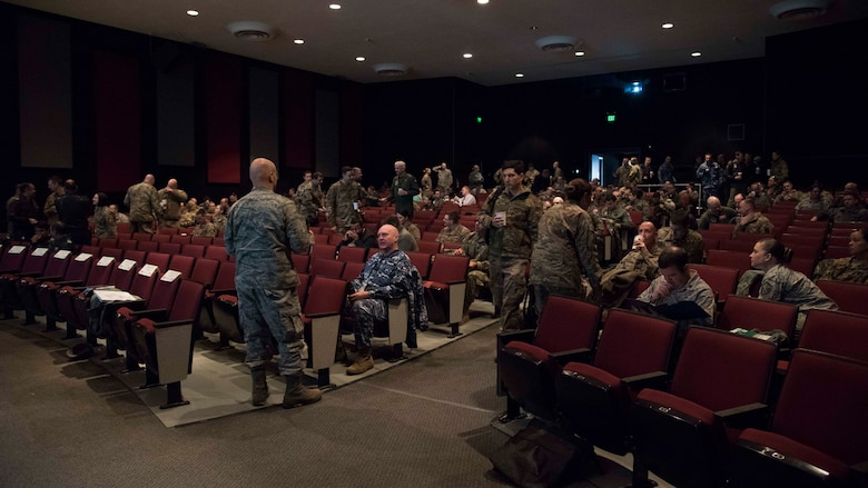 Attendees gather at the Fairchild Air Force Base theater for a morning briefing at the Mobility Guardian 2019 International Planning Conference held in Washington on Feb. 5, 2019.