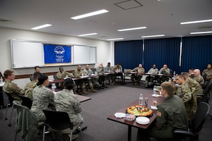 Airmen speak with senior enlisted leaders about various concerns and topics during the second annual Mentoring Up event, Feb. 7, 2018, at Yokota Air Base, Japan. Mentoring Up is a forum between Team Yokota's Chief's Group and Airmen to discuss issues and topics relative to the base with the goal to initiate new or improve upon existing programs in hopes that communication, morale, and retention efforts are more effective. (U.S. Air Force photo by Senior Airman Donald Hudson)