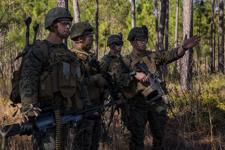 U.S. Marine Sgt. Liam Lynch, an infantry Marine, provides guidance during Tactical Recovery of Aircraft and Personnel training at Camp Lejeune, North Carolina, Feb. 1, 2019. TRAP training enhances combat readiness and crisis response skills by preparing Marines to confidently enter potentially combative areas, tactically extract personnel, recover aircraft and retrieve or destroy sensitive material. The Marines are with the 1st Battalion, 8th Marines.
