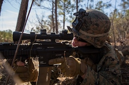 U.S. Marine Lance Cpl. Jacob Deryke, an infantry Marine, provides security during Tactical Recovery of Aircraft and Personnel training at Camp Lejeune, North Carolina, Feb. 1, 2019. TRAP training enhances combat readiness and crisis response skills by preparing Marines to confidently enter potentially combative areas, tactically extract personnel, recover aircraft and retrieve or destroy sensitive material. Deryke is with the 24th Marine Expeditionary Unit.