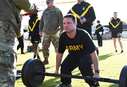 Soldiers conduct the deadlift event of the new Army Combat Fitness Test in Georgetown, South Carolina, Feb. 9. The 1-178th Field Artillery is one of six battalions in the National Guard and 63 Army-wide selected for the pilot program to help validate scoring and administration of the ACFT.