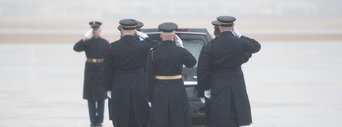 The U.S. Army 3rd Infantry Regiment (The Old Guard) body bearer team renders honors to former World War II Army veteran and Congressman John D. Dingell as he is taken away, on Joint Base Andrews, Md., Feb. 12, 2019. The longest-serving Congressional member in American history from 1955 to 2015, Dingell passed away Feb. 7, 2019, in Dearborn, Mich. The U.S. Armed Forces will provide military ceremonial support throughout the Congressional funeral of Dingell in Michigan and Washington, D.C. (U.S. Air Force photo by Airman 1st Class Michael S. Murphy)