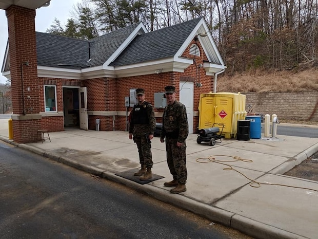 The Provost Marshal and CID OIC were giving Marines from PMO a well-deserved time off and manning the gates!