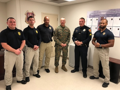 LtGen Chiarotti made a personal visit to Security Battalion to shake the hands of the Officers that took part in the apprehension of a potentially threatening situation aboard MCB Quantico.