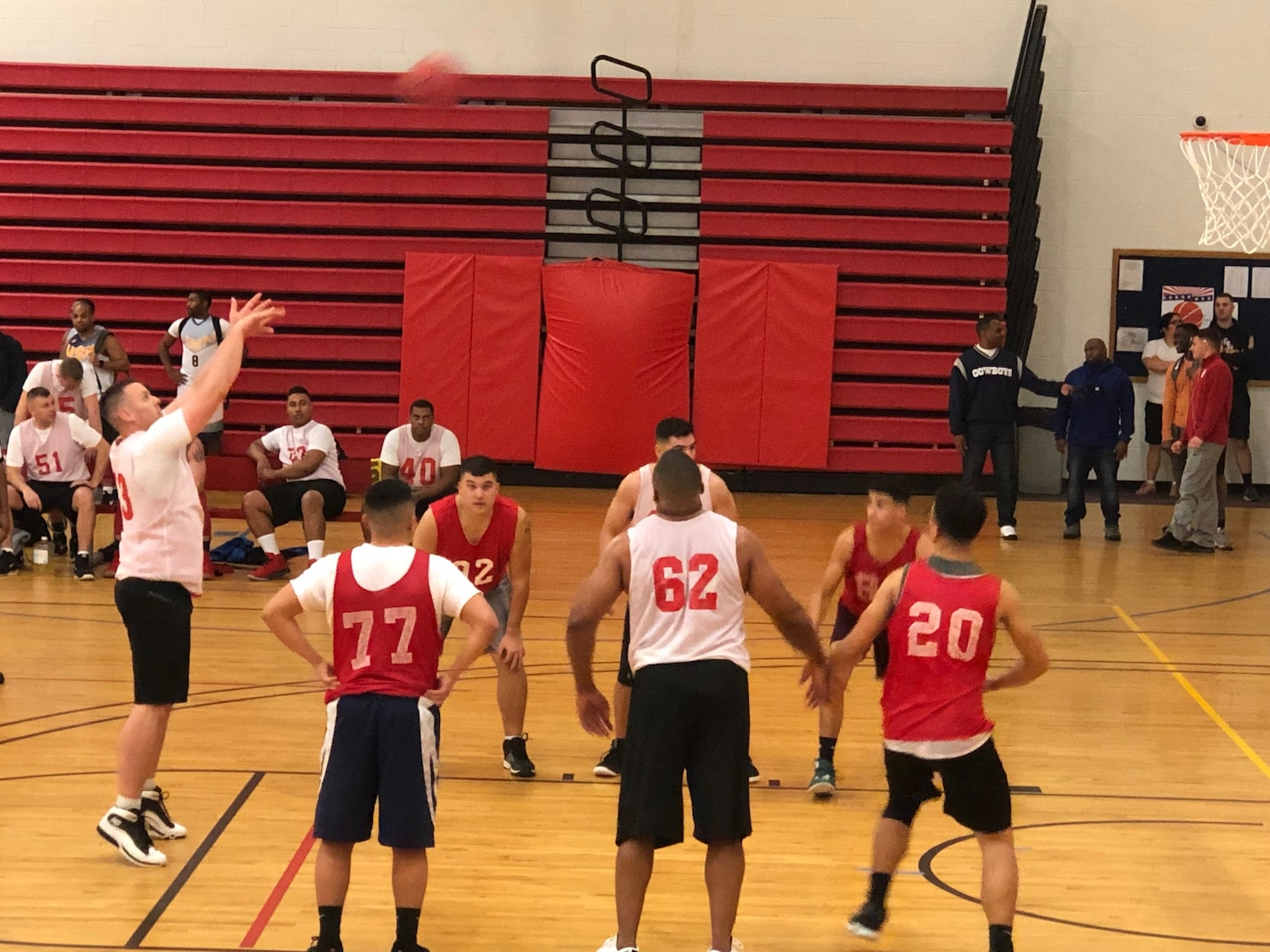 Security and Emergency services are the primary mission to Security Battalion, but also are active participants in MCB Quantico intramural Sports. Shown here is SecBn at the line shooting free throws.