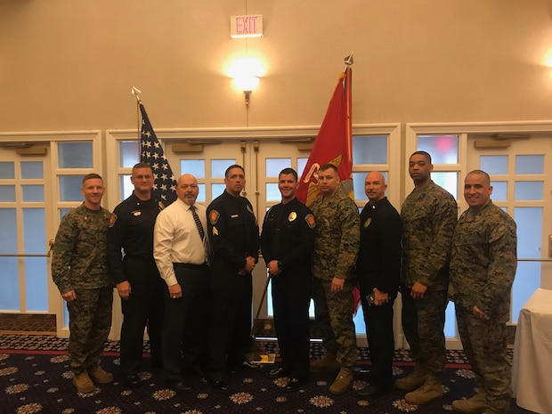 Pictured are the winners for 2018 MCB Quantico Civilian Awards. Security Battalions own Services Officer, Mr. Keith Simas Senior Civilian of the Quarter,  Sgt John Hughes Junior Civilian of the Year, Officer Drew Weston Junior Civilian of the Quarter.  To their flanks are Security Battalion leadership in support.