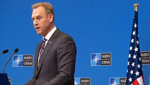 Acting Defense Secretary Patrick M. Shanahan answers questions during a news conference at the conclusion of the NATO defense ministerial conference in Brussels.
