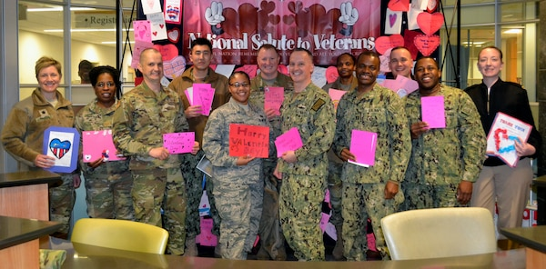 Military members from DLA Troop Support pose for a photo at the Corporal Michael J. Crescenz Veterans Affairs Medical Center, Feb. 11, 2019 in Philadelphia.