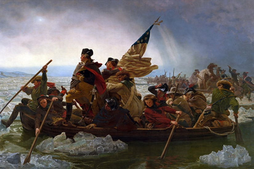 George Washington crossing river with Continental Army in 1776.