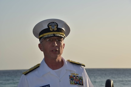 U.S. Southern Command's commander, Adm. Craig Faller, attends the unveiling of the USS Erie Memorial plaque at Koredor in Curaçao in honor of those who made the ultimate sacrifice.