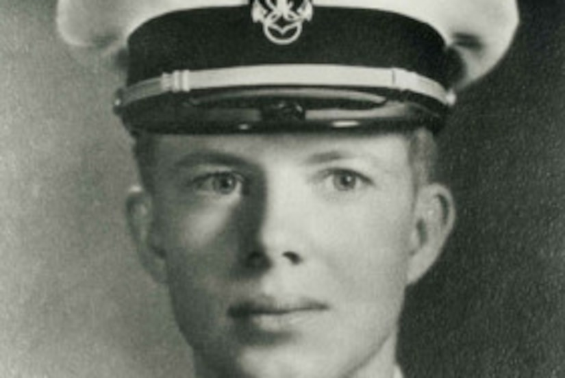 An official photo of Naval Academy Midshipman Jimmy Carter