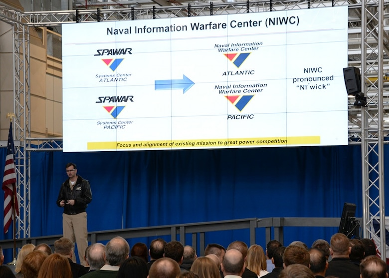 Space and Naval Warfare Systems Command (SPAWAR) Commander Rear Adm. Christian Becker announces that SPAWARs Echelon III systems centers, SPAWAR Systems Center Atlantic and SPAWAR Systems Center Pacific, will be changing their names to Naval Information Warfare Center Atlantic and Naval Information Warfare Center Pacific during an all hands event at SPAWAR Headquarters in San Diego, California.