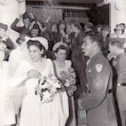 Marine Corps Gunnery Sgt. John Basilone and Lena Basilone on their wedding day July 10, 1944 at St. Mary's Star of the Sea in Oceanside, Calif. (Photo courtesy of St. Mary's Star of the Sea)