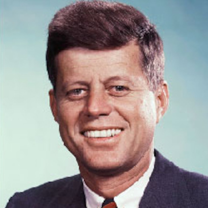 A graphic of President John F. Kennedy