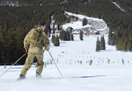 Soldiers with the Colorado Army National Guard's Company C, 1st Battalion, 157th Infantry (Mountain) ski alongside 10th Mountain Division veterans, descendants and friends during the 43rd annual Ski-In celebration March 2, 2018, at the Ski Cooper ski area. The 10th Mountain Division was formed in 1943 and trained for WWII mountain warfare at Ski Cooper near Leadville, Colo.