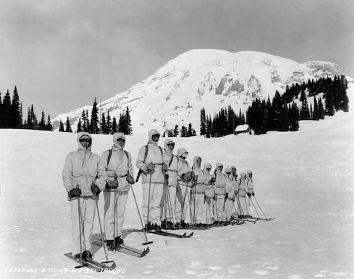 Pioneers of the 10th Mountain Division, the 87th Mountain Infantry Battalion, training in the United States in 1941. The unit was compromised of skiers, climbers and other outdoorsmen who trained vigorously.