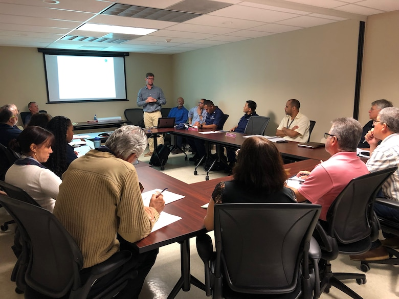 Local and federal agencies representatives listen to a presentation during a Corps of Engineers' regulatory program monthly meeting, held in San Juan Puerto Rico Feb. 6, 2019. The Corps host the meetings in order to assist applicants navigate the permitting process. The ultimate goal of each permitting action is to prevent aquatic resources from being negatively impacted by the proposed projects.