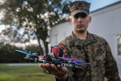 Marines with Combat Logistics Battalion 453, 4th Marine Logistics Group, showcase their progress and innovation, ranging from a biometric fingerprint scanner to three dimensional printed drone parts at their Home Training Center in San Jose, Calif., Feb. 9, 2019.