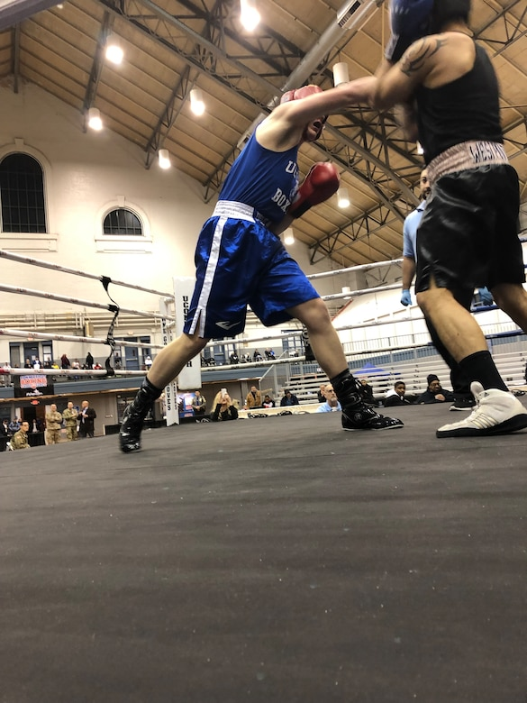 Andrew Eikleberry, a member of 103rd Airlift Wing Student Flight, Connecticut Air National Guard, competes at Golden Gloves, January 12, 2019 in Hartford, Conn. Eikleberry, will begin his Air National Guard journey at basic training in April. (U.S. Army National Guard photo by Maj. Mike Petersen)