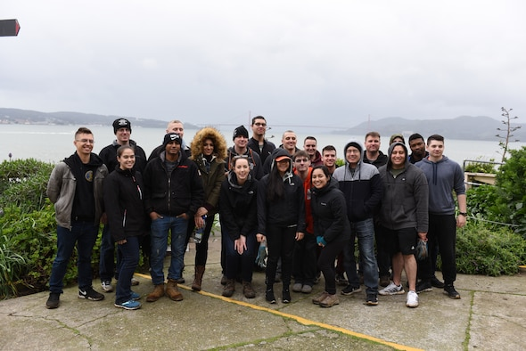 U.S. Air Force Airmen, 60th Operations Support Squadron, pose for a group picture 12 p.m. Feb. 9, 2019, in San Francisco. This group of Airmen participated in a vollunteer clean up to help out thier local community. (U.S. Air Force photo by Airman 1st Class Otte)