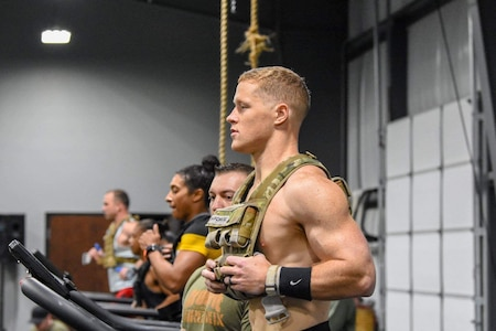 Capt. Brian Harris completing the half Murph on the Assault AirRunner during the U.S. Army Warrior Fitness Team Tryouts.