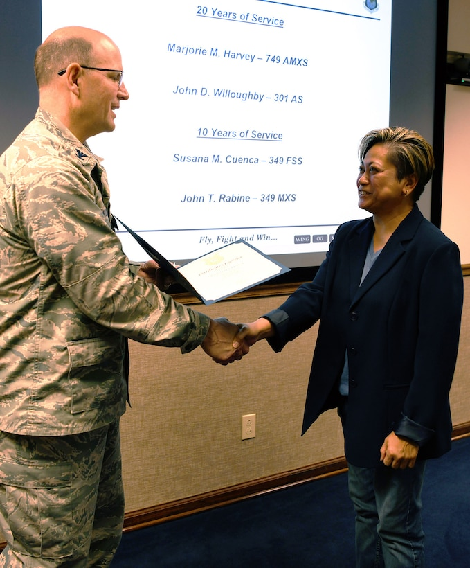 Congratulations go out to Susana M. Cuenca, 349th Force Support Squadron, on reaching 10 years of federal service.
