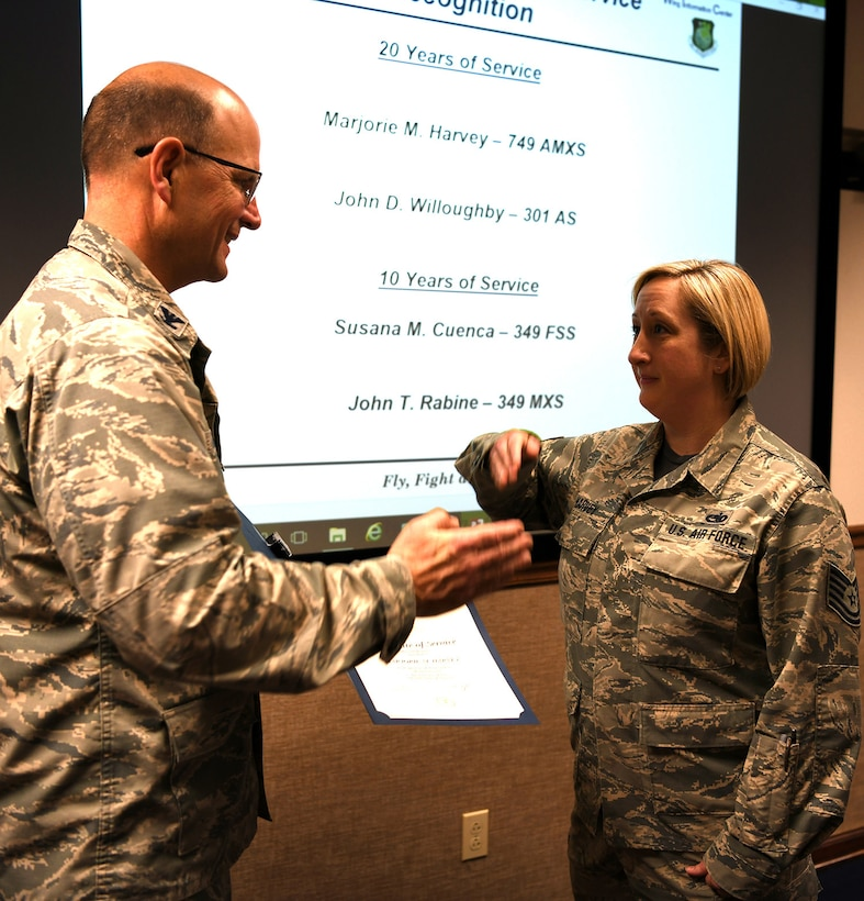 Congratulations go out to Marjorie M. Harvey, 749th Aircraft Maintenance Squadron, on reaching 20 years of federal service!