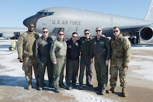 The Flight Crew of KC-135R Stratotanker, tail number 58-0023, from the 157th Air Refueling Wing, New Hampshire Air National Guard, pose for a group photo prior to flying the aircraft to the 151st ARW, Air National Guard Base, Utah, Jan. 30, 2019. From left, SSgt. Dennis Wardell, Tech. Sgt. Jason Inglis, Maj. Christopher Dillman, Staff Sgt. Kendrick Guerrier, Tech. Sgt. Nate Tarleton, Tech. Sgt. Joe Hewitt. The aircraft is one of eight aircraft leaving the Wing during the unit's divestiture of the KC-135. (U.S. Air National Guard photo by Staff Sgt. Curtis J. Lenz)