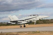 An F-18 takes off during Marine Division Tactics Course aboard Marine Corps Air Station Beaufort, Feb. 1. MDTC focuses on air to air and self-escort strike tactics to help aviators hone their skills for real life scenarios.